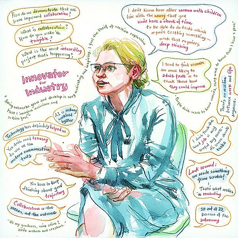 artistic water colour picture of a person with speech bubbles and quotes. Picture indicates she is an innovator for industry