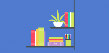 animation style bookcase with plant and books