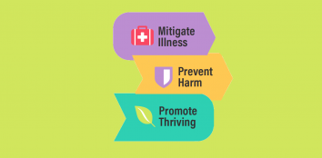 three vertical boxes which read 'mitigate illness', 'prevent harm' and 'promote thiving'